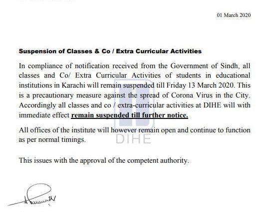 Suspension of Classes