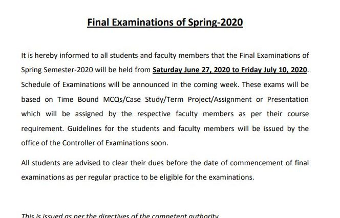 Final-Examination-Spring-2020-Notification